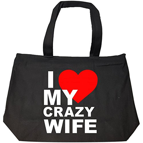 Best Couple Gifts I Love My Crazy Wife - Tote Bag With Zip by jcluinc
