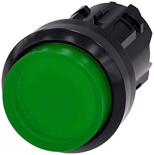 Siemens 3SU10010BB400AA0 Illuminated Pushbutton, Plastic, IP66, IP67, IP69K Protection Rating, Black Plastic, 22mm, Green