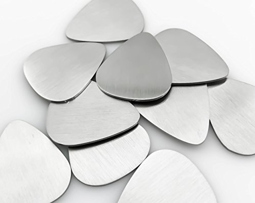 10 Stainless Steel Guitar Pick Blanks,- Brushed Finish (27mm wide x 31mm height, Without Hole)