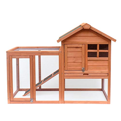 Raised 36 Vent - Pet Dog House, Wooden Dog Room with Porch & Fence, Raised Vent and Balcony for Outdoor & Indoor Use, Pet House Shelter for Small Dogs, Wood Dog House Dog Kennel