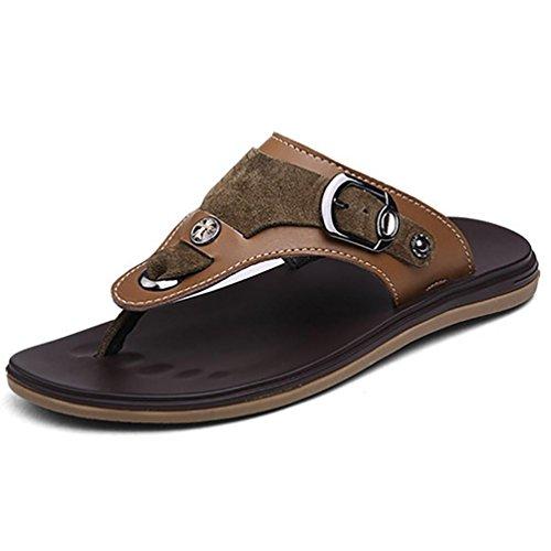 SHANGXIAN De los hombres verano playa desgaste ojotas sandalias de cuero Casual Brown