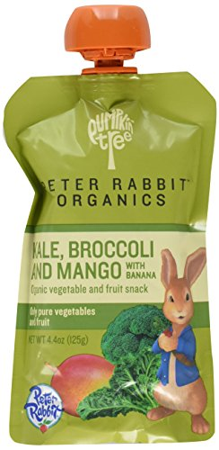 Peter Rabbit Organics  Mango, Broccoli and Kale Puree,  4.4-Ounce Pouches (Pack of 10)