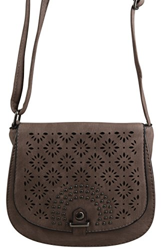Studded Vegan Leather Saddle Bag Boho Crossbody Purse Bohemian Handbag (Marsalla-Mauve)