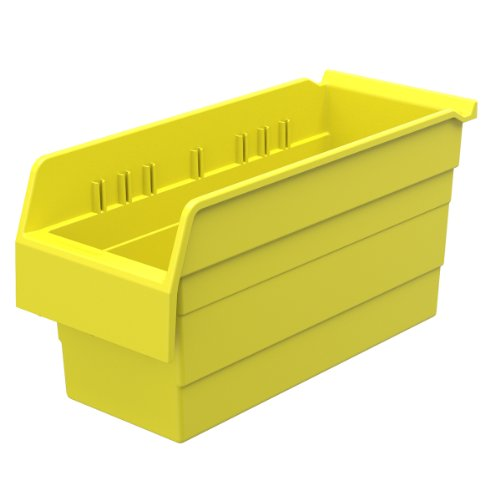 Akro-Mils 30866 ShelfMax 8 Plastic Nesting Shelf Bin Box, 16-Inch x 6-Inch x 8-Inch, Yellow, 10-Pack by Akro-Mils