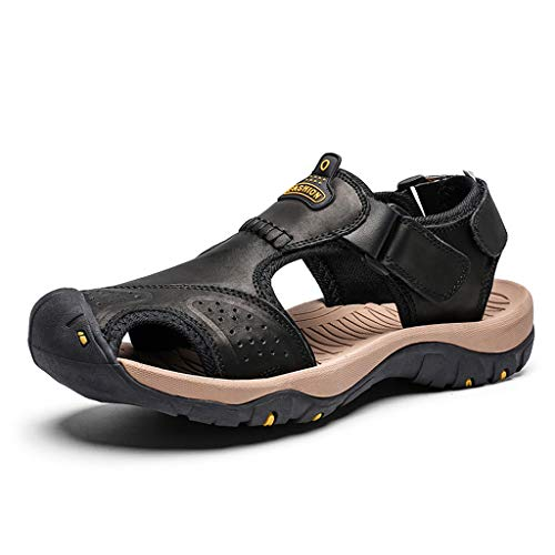 Summer Men's Sandals,Mens Fashion Leather Hiking Shoes Flats Slippers Beach Water Shoes Sport Sandals by Tronet Sandals (Image #2)