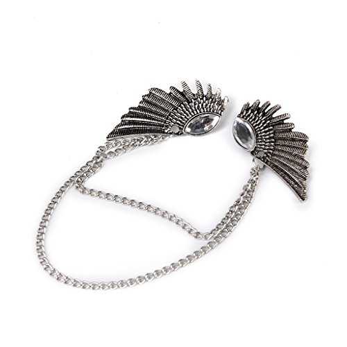 Angel Wings Dangle Chain Collar Tip Shirt Stud Brooch with Rhinestones Silver by Generic (Image #4)