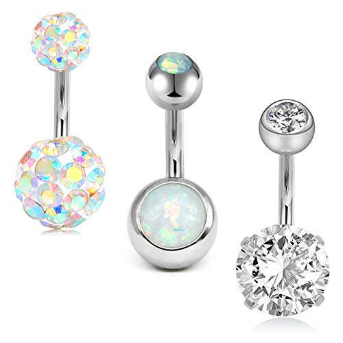 MODRSA 14G Stainless Steel Belly Button Rings for Women Girls Navel Barbell Stud CZ Body Piercing Rings 8mm Bar