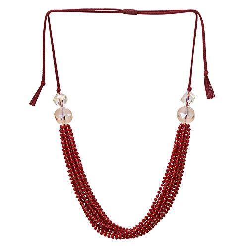 El Allure Preciosa Jablonex Seed Bead Maroon and Golden Japanese Cut Dana Trendy Handmade Fine Necklace for Women. ()