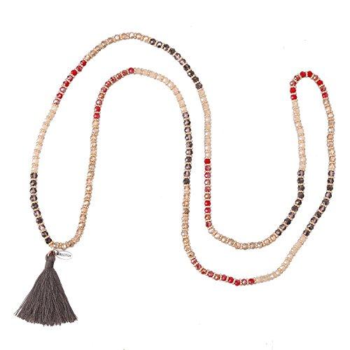 Necklace Tassel Strand (KELITCH Crysta AB Beaded Long Necklace Color Tassel Pendant Women Strand Bracelet For Summer (Red))
