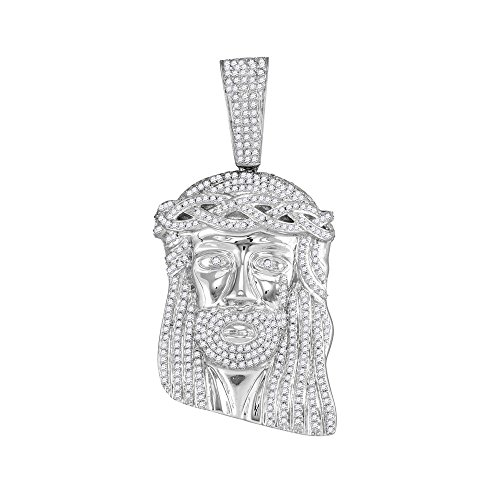 Roy Rose Jewelry 10K White Gold Mens Round Diamond Jesus Christ Messiah Head Charm Pendant 2-Carat ()