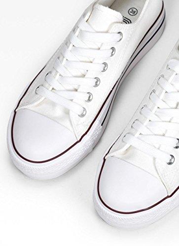 Bosanova Casual Mujer para Blanco Estilo de Bajas Zapatillas Urbano ZZxqBwP7