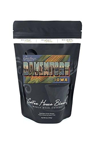 Greetings from Davenport, Iowa (Corn Background) (8oz Whole Bean Small Batch Artisan Coffee - Bold & Strong Medium Dark Roast w/ - Iowa Stores Davenport