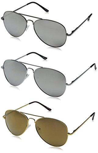 zeroUV Premium Mirrored Aviator Top Gun Sunglasses w/ Spring Loaded Temples, (3-Pack | Silver + Gold + - Com Zerouv
