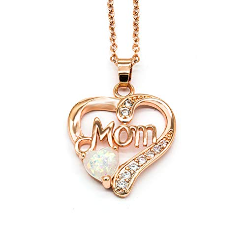 Mom Loving Heart Pendant Rose Gold Plated & White Opal Necklace Dainty Necklace With Created Opal Pendant Great Jewelry Gift For Women - Rose Red