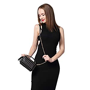 Shoulder Bag Small Side Purse Mini Clutch with Bling Rivets