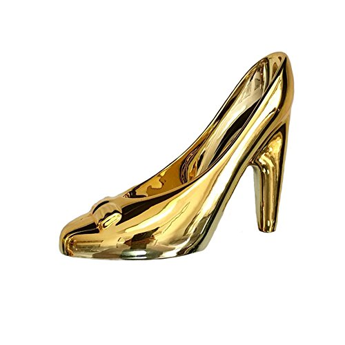 - Bowknot Glass Slipper Gold Silver Plated Wedding Party Bridal Girls Gift Shoes Heels Decoration Urchart (Gold Plated)