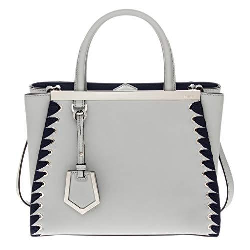 Handbag Blue Fendi (Fendi Women's Petite 2Jours Leather Tote Blue)