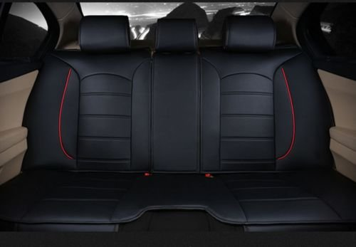 Best Amooca Luxurious Airbag Compatible Universal Full Set Needlework PU leather Dacron Fabric Front Rear Car Seat Cushion Cover For EcoSport Focus Jetta Tiguan Black 6pcs (online)