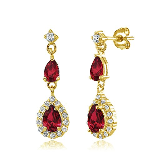 Ruby Red Flashed - Yellow Gold Flashed Sterling Silver Created Ruby and White Topaz Fashion Teardrop Dangle Earrings