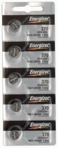 Energizer 370 Button Cell Silver Oxide SR920W Watch Battery Pack of 5 Batteries