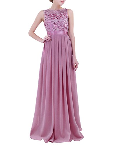 YiZYiF Women Crochet Lace Wedding Bridesmaid Formal Gown Prom Party Maxi Dress Plum - Lace Crochet Embroidered