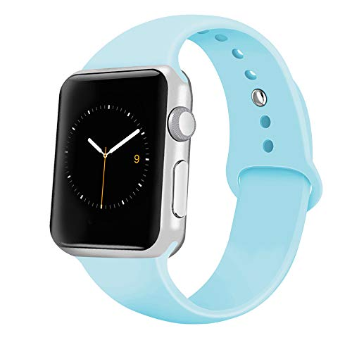 iGK Sport Band Compatible with Apple Watch 42mm/44mm, Soft Silicone Sport Strap Replacement Bands for iWatch Apple Watch Series 4 Series 3, Series 2, Series 1 42mm/44mm Light Blue Small
