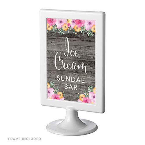 Andaz Press Framed Wedding Party Signs, Rustic Gray Wood Pink Floral Flowers, 4x6-inch, Ice Cream Sundae Bar Reception Dessert Table Sign, 1-Pack, Includes Reusable Photo Frame