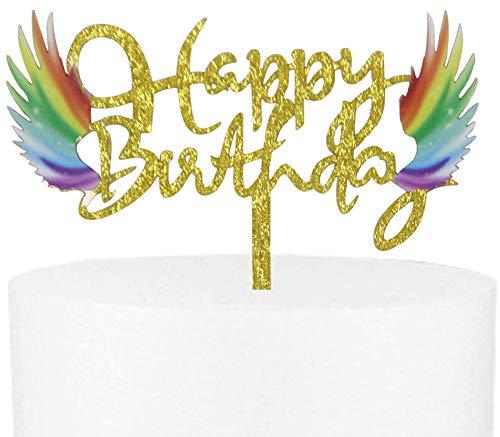 CaJaCa Glitter Happy Birthday Rainbow Cake Topper Baby Shower Party Decoration Supplies