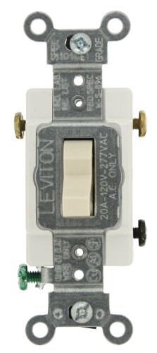 Amp, 120/277-Volt, Toggle 3-Way AC Quiet Switch, Commercial Grade, Grounding, Light Almond ()