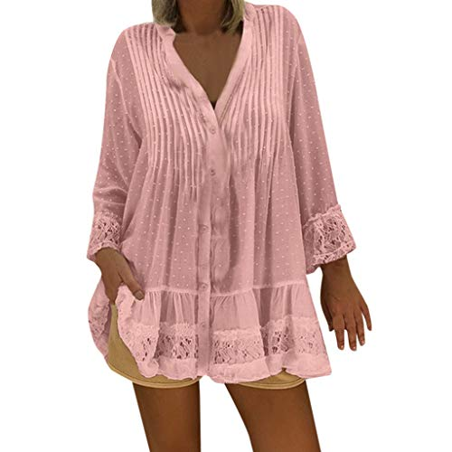 Womens Tops Summer V Neck T-Shirts Swing Ruffle Blouses Button up Tunic Casual Flowy Loose Long Sve Tee Pink