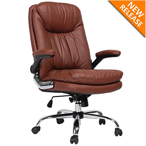 B2C2B Ergonomic Office Chair – High Back Desk Chair with Flip-Up Arms and Comfy Thick Cushion Leather Computer Chair Big and Tall 350LBS Brown