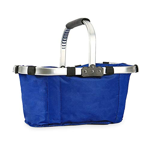Bosiwee Foldable Shopping Basket, Market Basket Reusable Bag Sturdy Lightweight Snap Basket Picnic Tote for Picnic Shopping (Blue) ()
