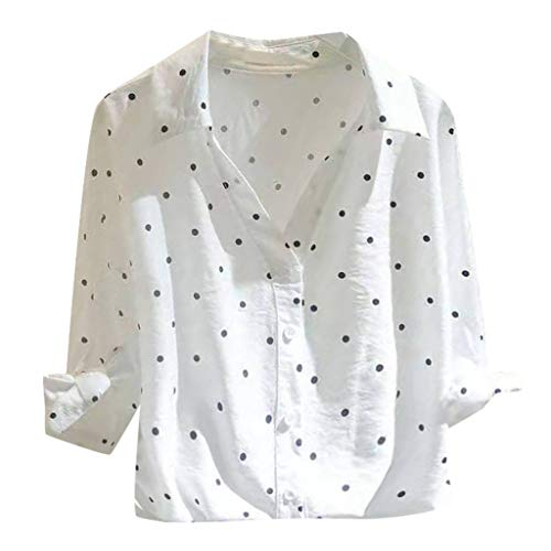 (TANLANG Womens Henley Tops Loose Fitting Shirts Waffle Tunic Blouse Short Sleeve Stand Collar Button Polka Dot Print White)