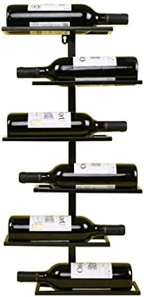 Estantería de vino Botelleros for vino Vintage Botelleros for vino - Montaje en pared con barra de metal Soporte for botella de vino Soporte for vino rústico Soporte for pared Organizador de almacenam