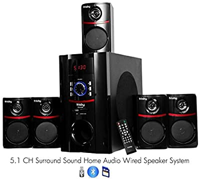 Frisby FS-5010BT 5.1 Surround Sound Home Theater Speakers System with Bluetooth USB/SD and Remote by Frisby