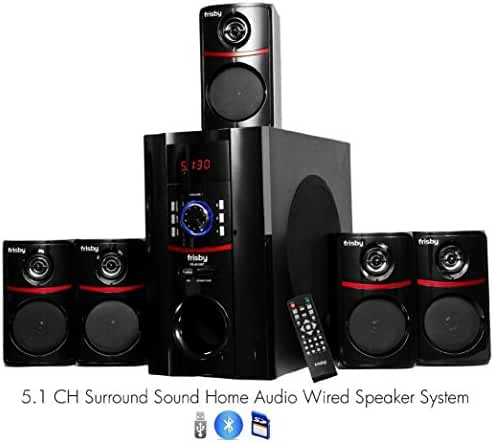 Frisby FS-5010BT 5.1 Surround Sound Home Theater Speakers System with Bluetooth USB/SD and Remote