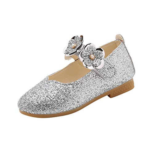 Kids Baby Girls Little Girl's Adorable Flower Sparkle Mary Jane Princess Party Dress Shoes Casual Single Shoes Silver