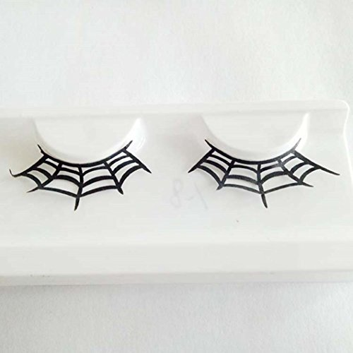 NEW ! Iusun 1Pair Women Halloween Party Party Makeup Art Paper Cutting False Eyelashes Eye Lashes Extension (B)