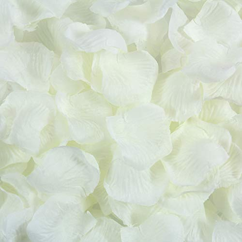 BESKIT 3000 Pcs Artificial Silk Rose Petals Unscented Non-Woven Flower Petals for Valentine Day Wedding Flower Decoration (Ivory
