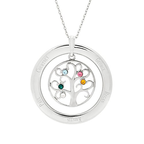 - 5 Simulated Stone Personalized Crystal Family Tree Pendant