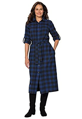 Woman Within Plus Size Flannel Shirt Dress