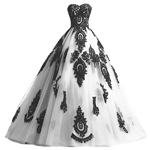 Black Lace Long Tulle A Line Prom Dresses Evening Party Corset Gothic Wedding Gowns White US 18W