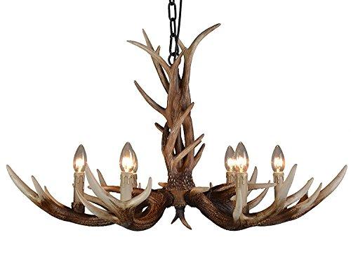 Country Style Chandelier (EFFORTINC Antlers vintage Style resin 6 light chandeliers, American rural countryside antler chandeliers,Living room,Bar,Cafe, Dining room deer horn chandeliers)