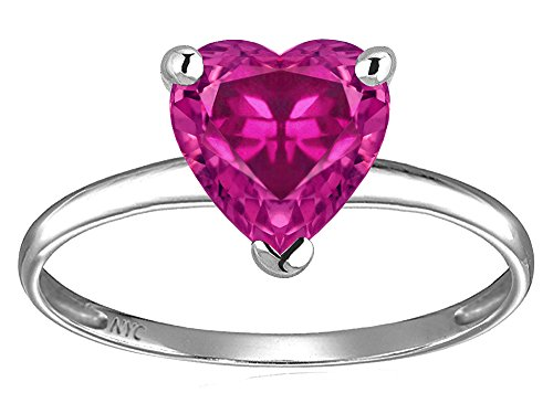 (Star K Simulated Pink Tourmaline Heart Shape 8mm Solitaire Engagement Ring 10 kt White Gold Size 6)