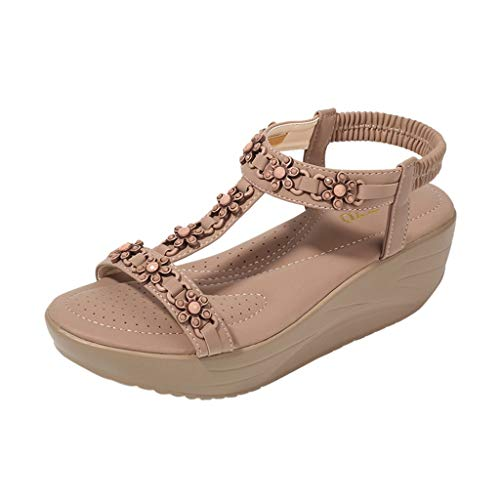 ✔ Hypothesis_X ☎ Womens Wedges Sandals, Bohemian Pearl Crystal Flat Sandals,Flip Flop Casual Shoes Coffee
