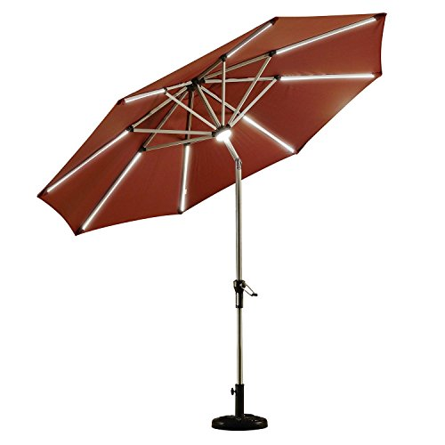 PURPLE LEAF 9 Feet Solar Powered LED Lighted Patio Umbrella with Push Button Tilt and Crank Outdoor Market Umbrella Garden Umbrella, Dark Red