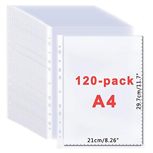 Office Clear Sheet Protectors 8.26x11.7 Document Pocket 120 Pack-11 Holes Design for A4 Papers