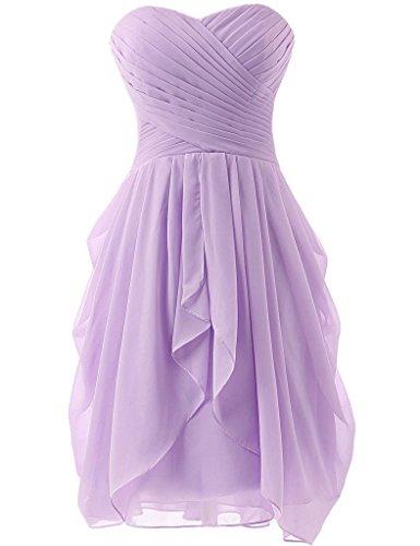 Women's Strapless Chiffon Short Bridesmaid Dresses Prom Gowns Lavender US18W (Strapless Informal Wedding Dresses)