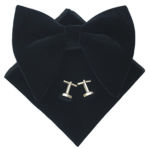 Justyourstyle Mens Pre-Tied Oversized Bow Tie Tuxedo Velvet Bowtie Cufflinks Hankie Combo Sets (Black) (Black Velvet Bow Tie)