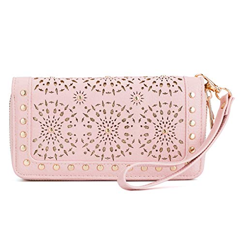 Wristlet Wallet Purses For Women Double Zipper Clutch Perforated Snail Studs Card Holders Cellphone Pocket